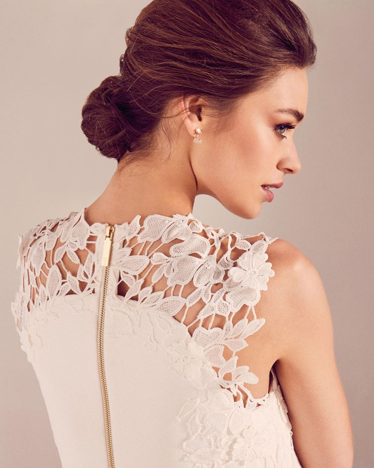 Embroidered lace shift dress - White | Dresses | Ted Baker