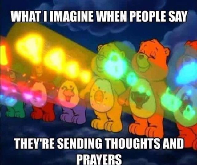 Why would someone go out of their way to create this meme?  Is it not an expression of ridicule for people who pray?  No tolerance for people of faith. No evidence of respect. #loveislove #hateishate