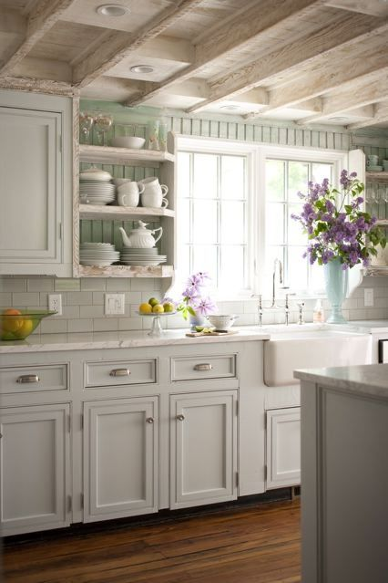 gorgeous kitchen with exposed shelves and lovely exposed ceilings...backsplash, add trim to cabinet fronts
