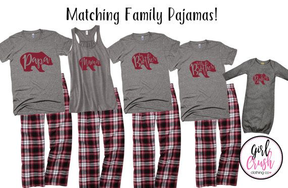 Matching Family Pajamas, Christmas Bear Pajamas, Youth Matching Pajamas, Baby Pajamas, Holiday Matching PJs  Fun Matching Family Pajamas! __________________________________________________________________________________________________________________________________________  In the NOTES TO SELLER AT CHECKOUT please INCLUDE: 1. HIM~Pant Size/Color, Shirt Size/Color 2. HER~Pant Size/Color, Shirt/Tank Size/Color (please specify if you want tank OR shirt) 3. KIDS/YOUTH~For Each Child/Youth…