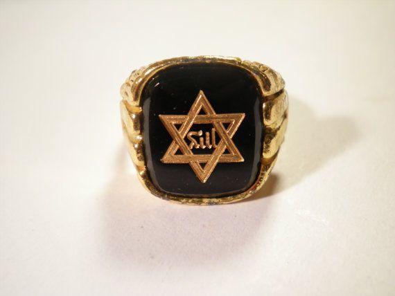 1 multi Tone Davidster verstelbare Ring door epicvintagejewelry