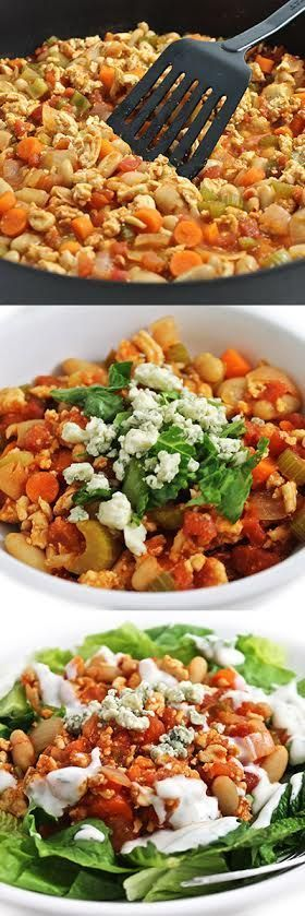 Low Calorie, High Fiber Buffalo Turkey Chili. Serve in a bowl, top a salad or stuff a baked potato. Each yummy serving has only 185 calories, 3g fat & 3 Weight Watchers SmartPoints. http://www.skinnykitchen.com/recipes/low-calorie-high-fiber-buffalo-turkey-chili/