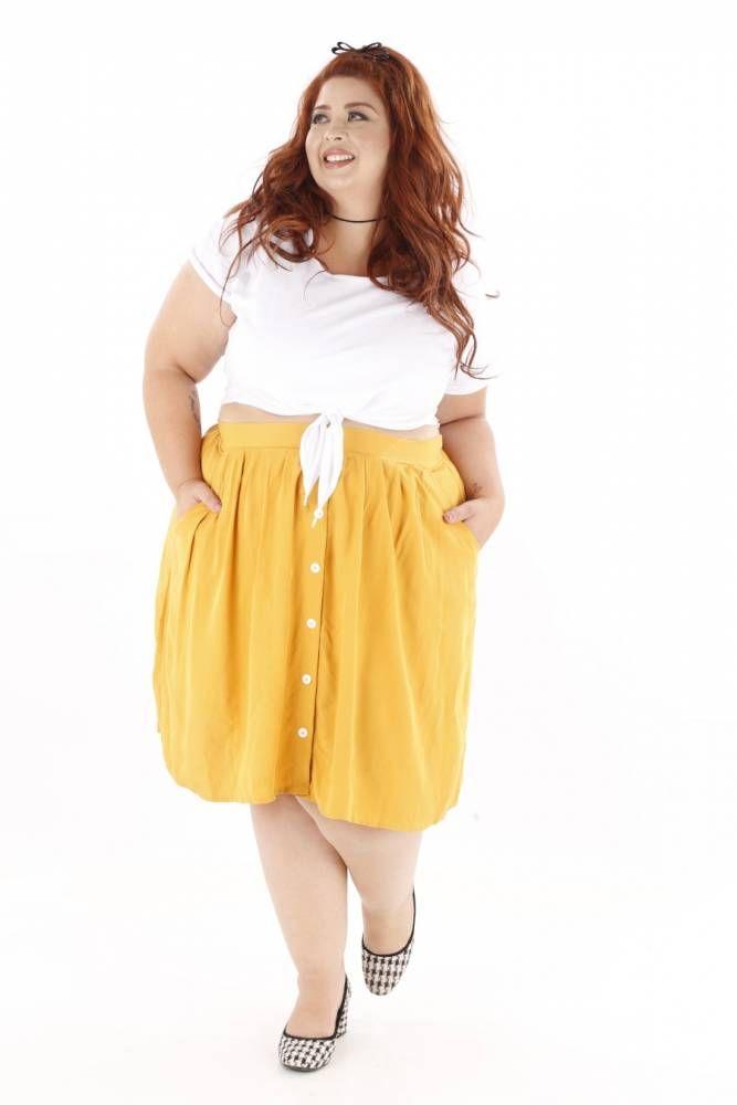 f3756a2af Saia de Botões Mostarda | Plus Size | Plus size, Midi Skirt e Fashion
