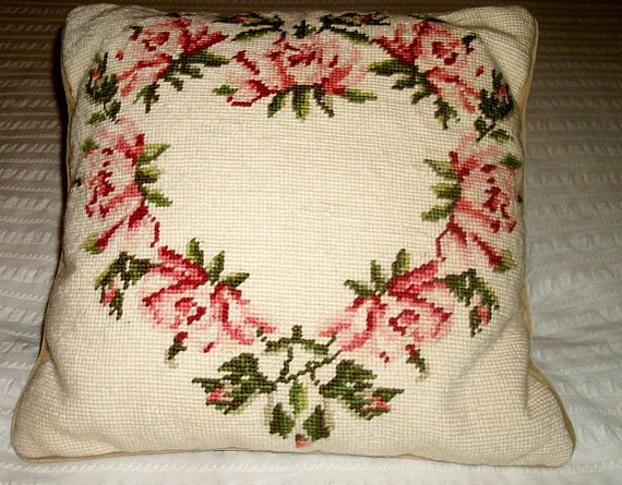 "Lovely NEEDLEPOINT PILLOW Ring of Roses 13"" by 13"" Velvet Backing zipper"