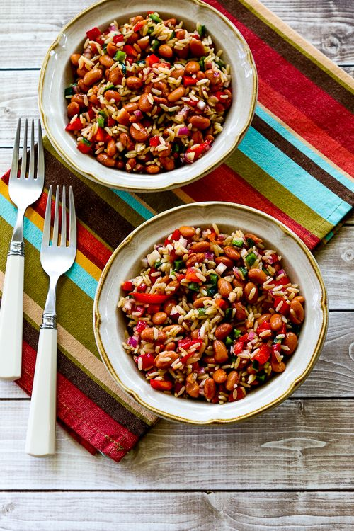 Brown Rice and Pinto Bean Salad with Poblanos and Red Bell Pepper