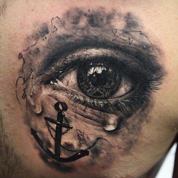Auge mit Anker 3D Tattoo