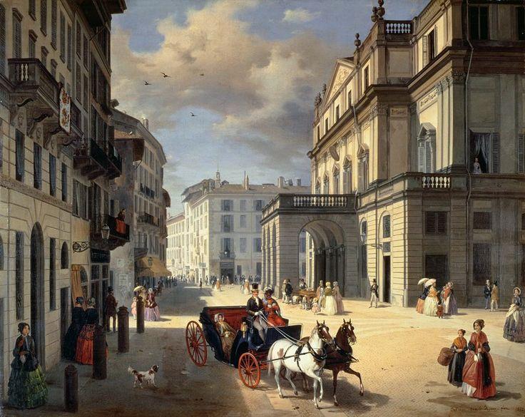 """""""La facciata del Teatro alla Scala"""" (Angelo Inganni, Museo Teatrale alla Scala, Milano), 1998."""