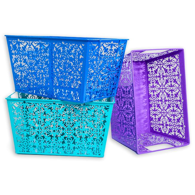 These Lovely Metal Storage bins are Decorative and Functional and add a bright pop of color to your organization.   Read More On VintageAndKind.com