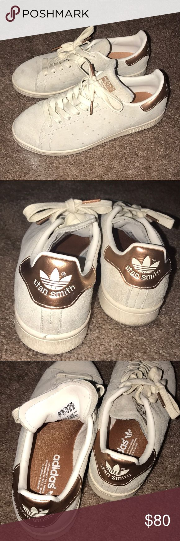 Limited edition SUEDE STAN SMITH adidas Beautiful color match cream/gold.  Bought in the UK size 8 women.  Worn about 3 times, super comfortable. Only thing is the small mark on the right toe.  Sad to give these up but I️ don't give them the love they should be getting :/ adidas Shoes Sneakers