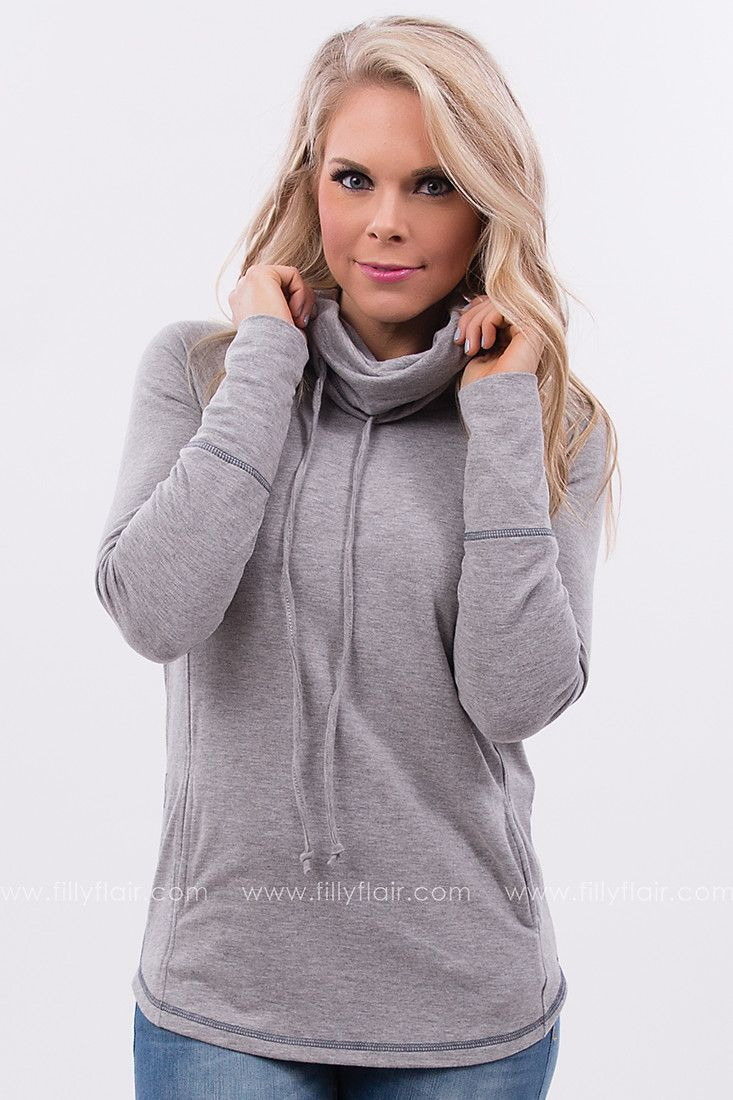 Out on the Weekend Cowl Neck Hoodie in Grey