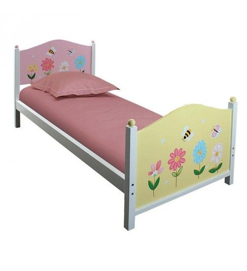 WOODEN SINGLE BED IN PINK COLOR W_FLOWERS 198Χ90Χ93