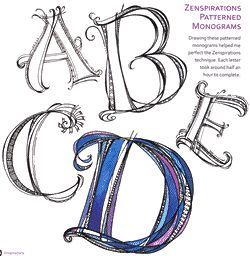 """Zenspirations, Letters & Patterns by Joanne Fink is a delightful book for any doodle or Zentangle artist who wants to learn Joanne's style of adding whimsical fun and simple shapes to monogram and letters, quotes, borders & frames, shapes, journals, scrapbook pages, quilt labels and craft projects."" Really like her whimsical illustration style!"