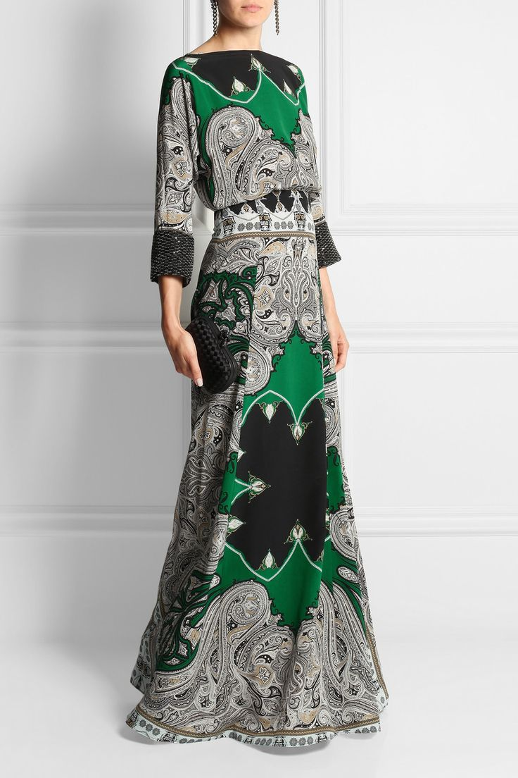 Embellished printed silk crepe de chine maxi dress
