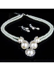 Fashion Rhinestones Wedding Jewelry Set with Pearls Necklace and Earrings