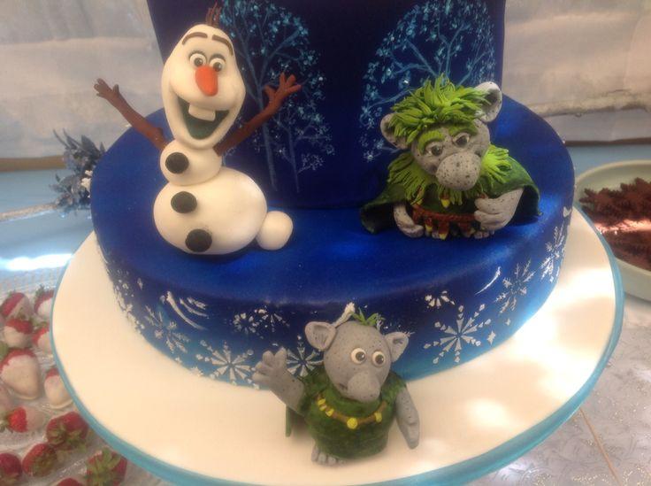 Frozen cake - Olaf, Grandpappy & little girl troll.