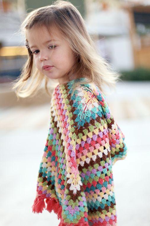 crochet : kids poncho, so cute