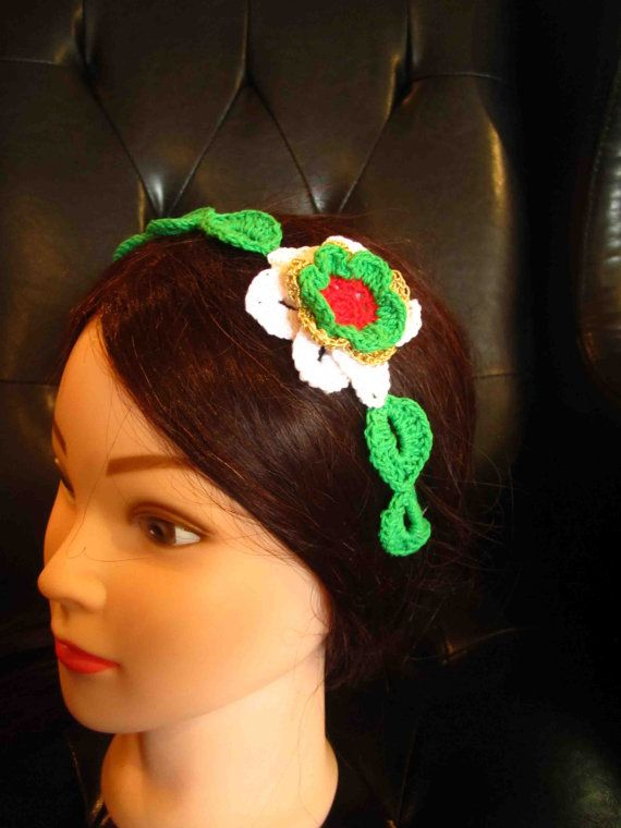 Headband with red white green and gold crochet flower by WhiteBea, $12.00
