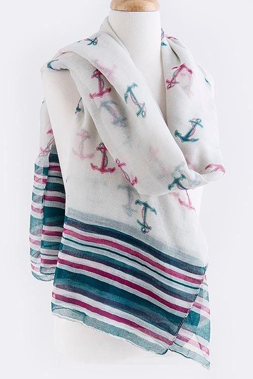 B128 Nautical Stripe Anchor Pink Fuchsia Teal White Shawl Scarf Wrap Boutique