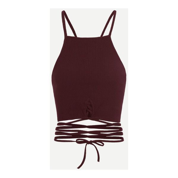 Wine Red Criss Cross Cami Top (£7.73) ❤ liked on Polyvore featuring tops, shirts, crop tops, tanks, blusas, cropped tops, cropped cami, brown top, wine shirts and red shirt