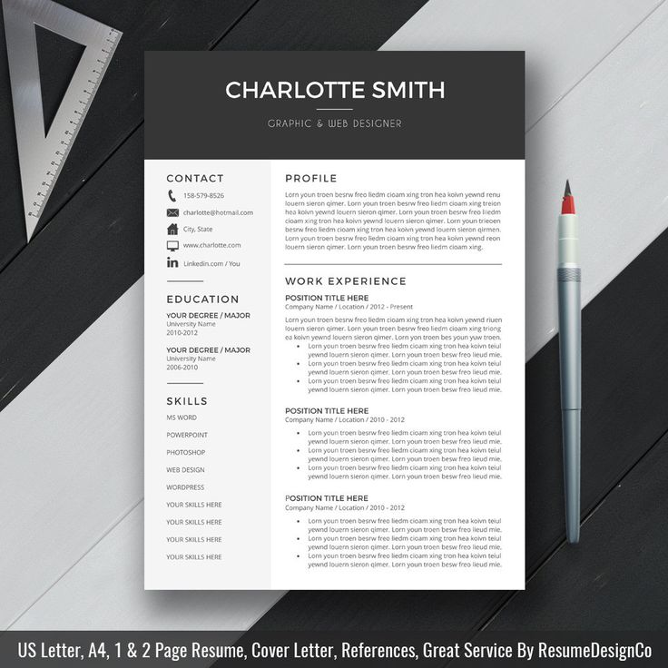 Cv Templates Design%0A Professional Resume Template  CV Template  Cover Letter  MS Word  For Mac  PC  Simple Modern Creative Resume  Instant Download  Charlotte B