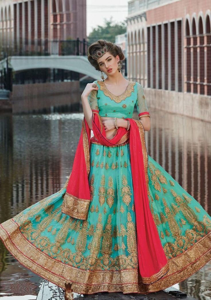 Red Bridal Butti Work Saree Border Heavy