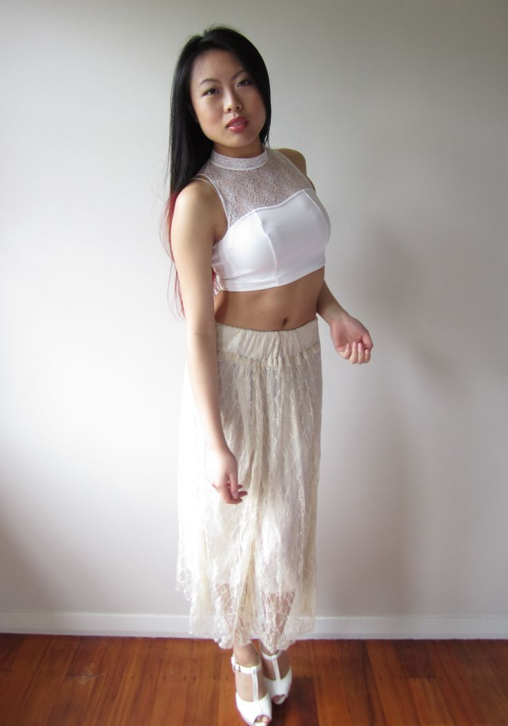 White Lace Crop Top Size 06 $9.99  Creamy White Sheer Skirt Size 08 $9.99