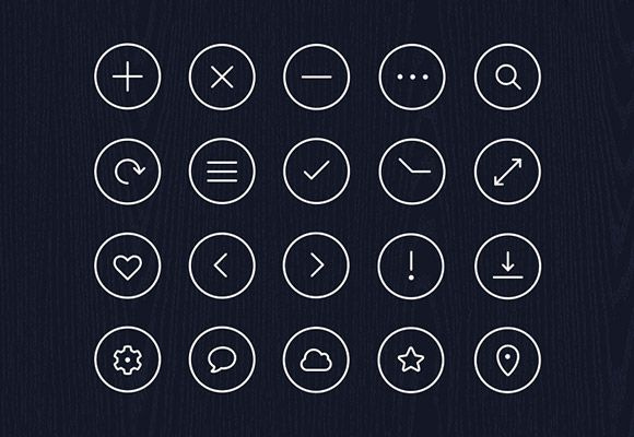 Here is an icon pack including 20 simple circle icons. Free PSD created and released by Robin Kylander.