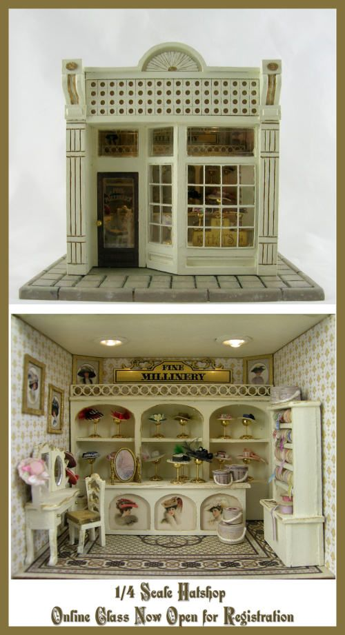 Cynthia Howe Miniature Hat Shop. 1:48 scale!!!    Beautiful work as always from this artist.