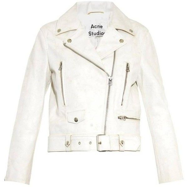 Preowned Acne New Distressed Ivory Leather Biker Jacket Fr36 Rt. (4,125 SAR) ❤ liked on Polyvore featuring outerwear, jackets, cropped jackets, white, white leather jacket, white zip up jacket, white moto jacket, leather jackets and white cropped jacket