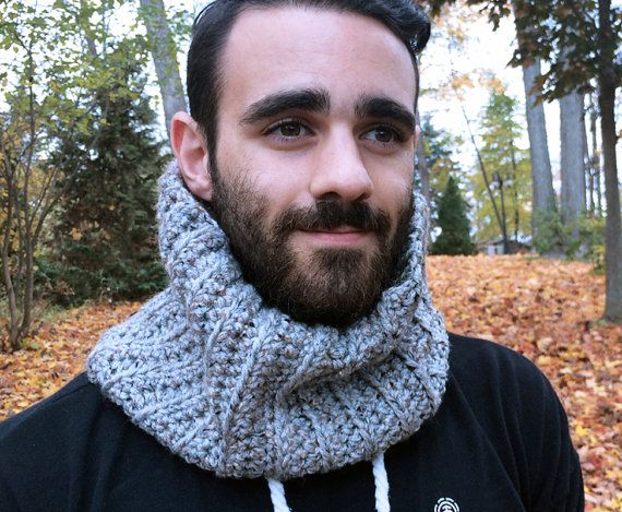 Ribbed Cowl Scarf Vegan / GREY MARBLE /