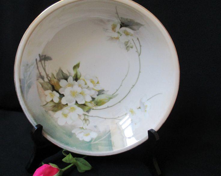 R.S. Germany Decorative Bowl, White Blossoms, Vintage China Bowl, Fruit Bowl, German Pottery, Wedding Decorations, European Home