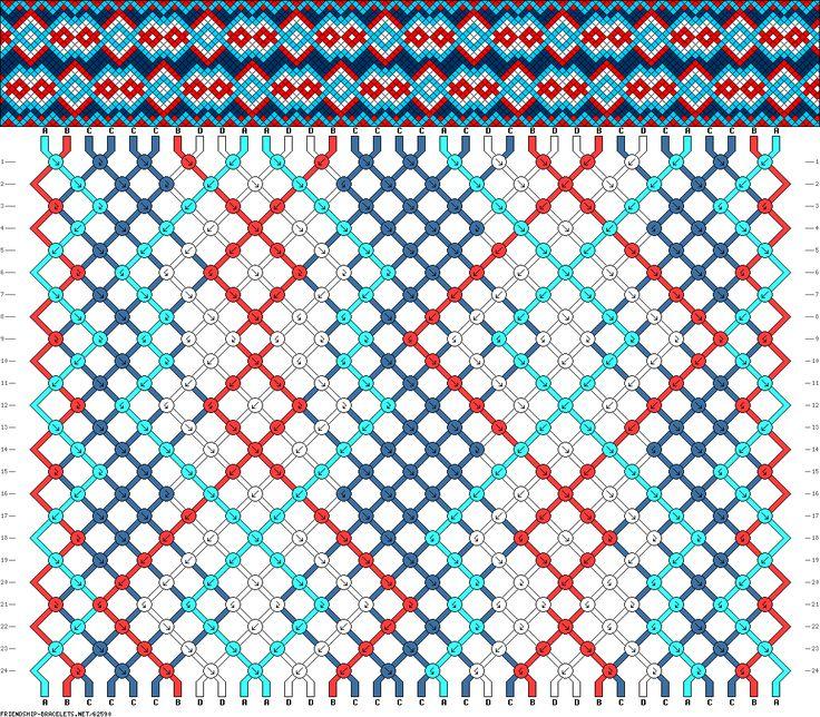 34 strings, 24 rows, 4 colors, bracelet