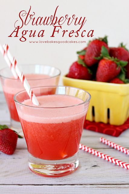 """Strawberry Agua Fresca - a refreshing fruit drink served throughout Mexico. Agua fresca means """"fresh water"""" in Spanish! #strawberry #drink b..."""