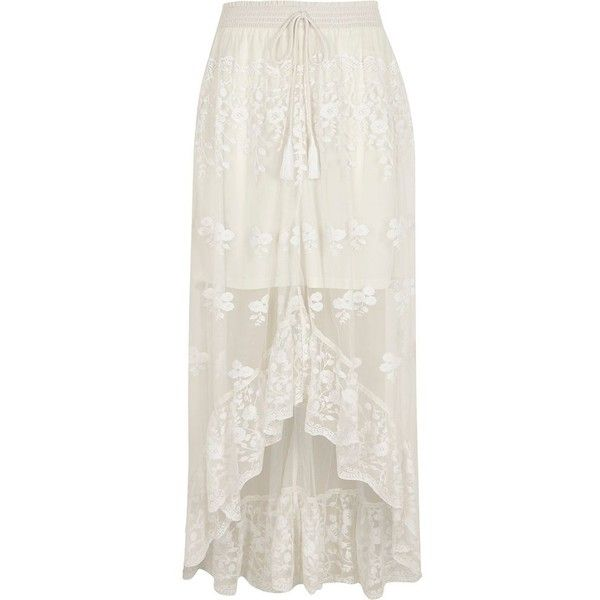 River Island White mesh asymmetric high-low hem maxi skirt ($96) ❤ liked on Polyvore featuring skirts, maxi skirt, white, women, hi low maxi skirt, asymmetrical skirt, hi low skirt and high low maxi skirt