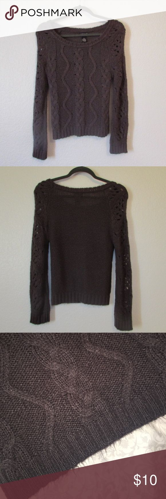 Wet Seal sweater Wet seal grey sweater. Very soft and cozy. Gently worn, but bottom has started to fray (as pictured). Wet Seal Sweaters Crew & Scoop Necks