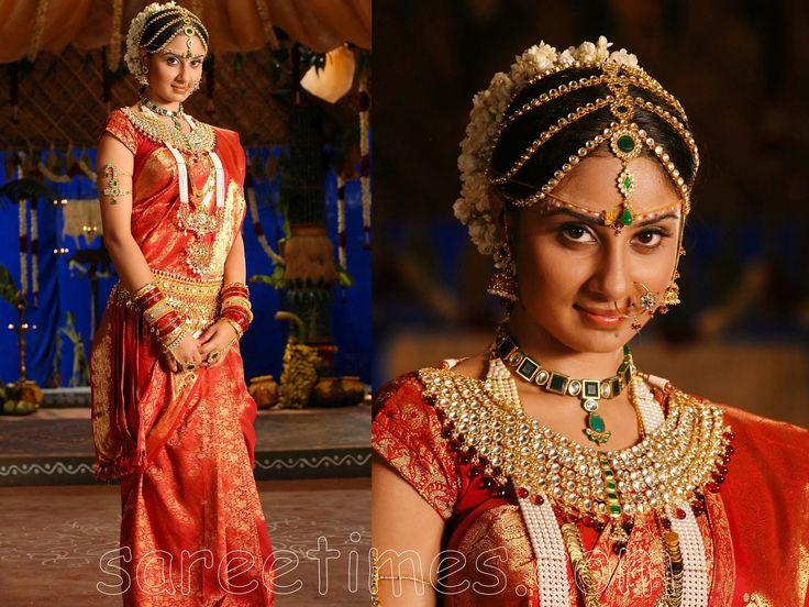 south indian wedding bride, south indian bride, cream and red saree, South Indian Kanjeevaram Silk Saree & Bridal Jewelry #indianwedding, #southasianwedding, #shaadibazaar