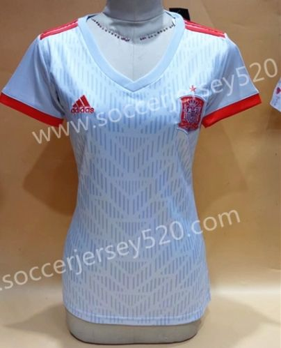 140a1d567d1 2018 World Cup Spain Away White Female Thailand Soccer Jersey ...