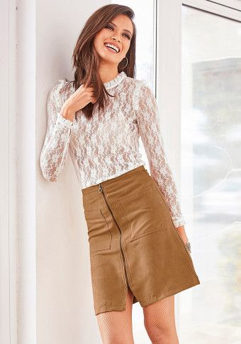 Semišová sukně na zip #ModinoCZ
