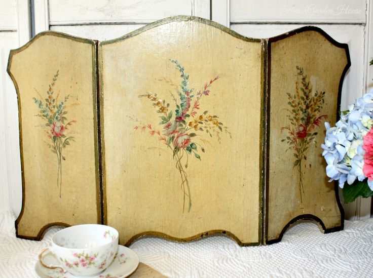 Antique French Hand Painted Wood Toleware Tabletop Fire Screen  FrenchGardenHouse com 121 best Old Screens images on Pinterest