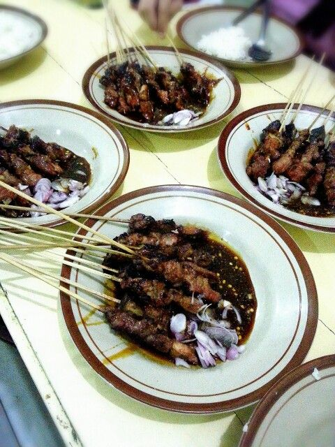 Sate Kambing  Goat Satay ----------- Goat meat grilled with sweet bean soya and chilli