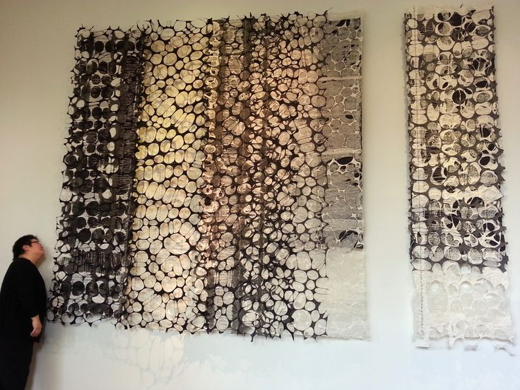 """Jiyoung Chung, """"Whisper-Romance: Blessed"""", prox. 9' x 14', Hand-ground oriental ink dyed One-of-a-kind Joomchi and paper yarn.  Joomchi is a Korean technique that uses water to seal layers of paper together - similar to felting."""