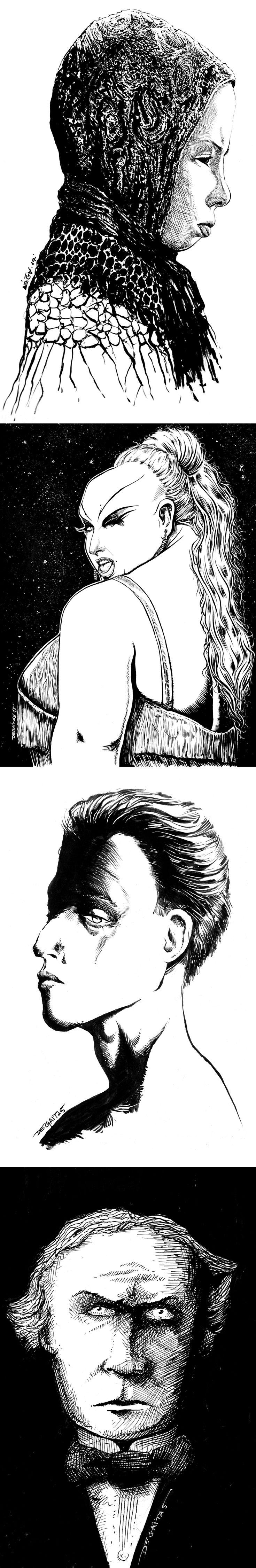 Drawings by Kostas Degaitas on Behance at https://www.behance.net/gallery/47971323/Drawings-2017 #art #drawing #girl #movie #tarkovsky #divine #houdini #sad #portrait