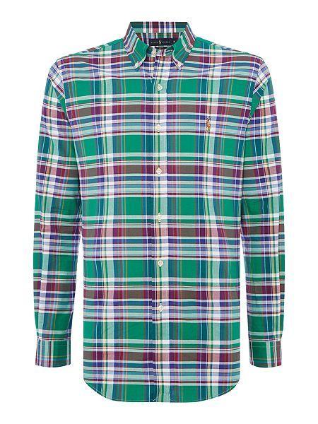 Ralph Lauren Windbreaker Mens Polo Clothing Long Sleeve Stretch Check Shirt