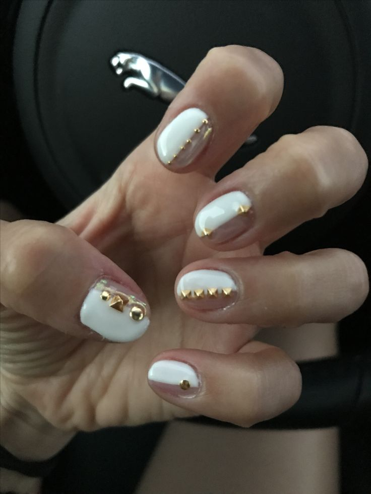 34 best my nails images on pinterest gel nail designs nails half and half studded nails white gel nail design with beige chrome powder and gold prinsesfo Images