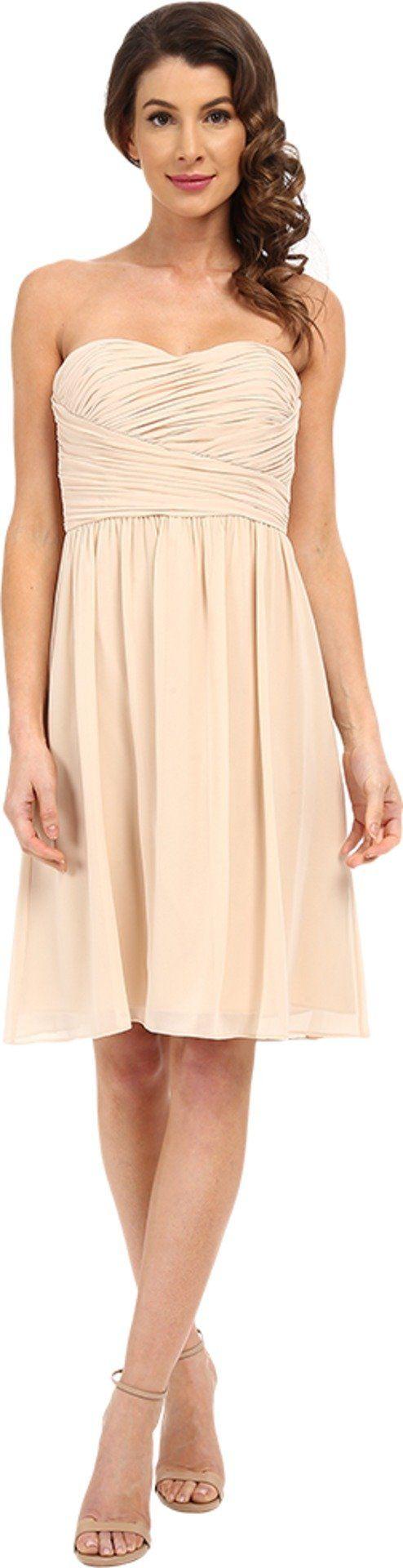 Donna Morgan Women's Sarah Dress Short Rouched Dress Champagne Dress
