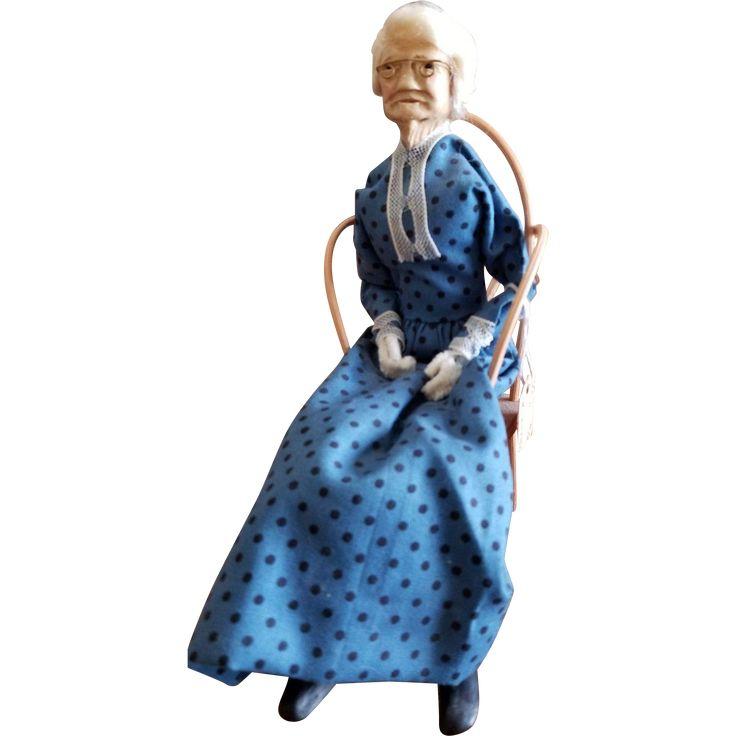 Vintage Ozarks Folk Art Granny Doll in Chair