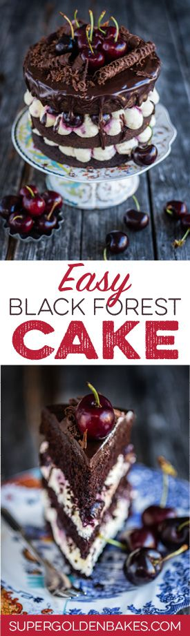Eggless easy Black Forest layer cake recipe