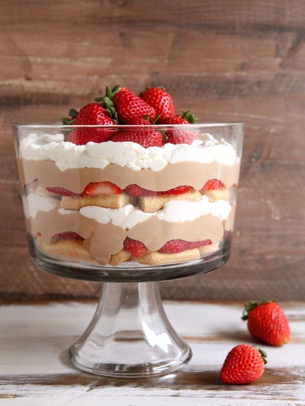 Strawberry Chocolate Tiramisu Trifle | completelydelicious.com
