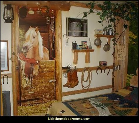Horse Stable Wall Mural Barn Bedding Girls Theme Bedroom Decorating Ideas