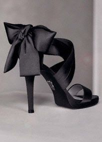 "Open-toe pump with draped satin straps.  Open-toe pump with draped satin straps and large bow at heel.   Available in sizes 5-12.  Colors available Ebony, Ivory, and Blush.  Heel height - 4 1/4"". Platform 1/4"".: Verawang, Vera Wang, Bows Heels, Black Bows, Black Shoes, Bridesmaid Shoes, Black Heels, High Heels, Black Satin"